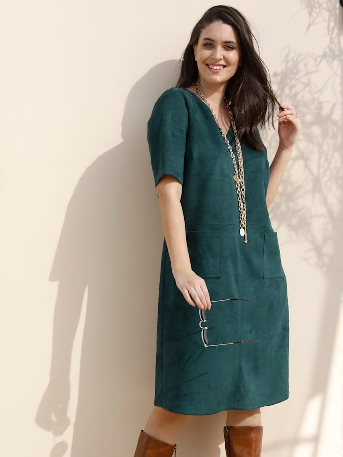 MIAMODA Šaty z imitace velurové kůže, Tmavá zelená