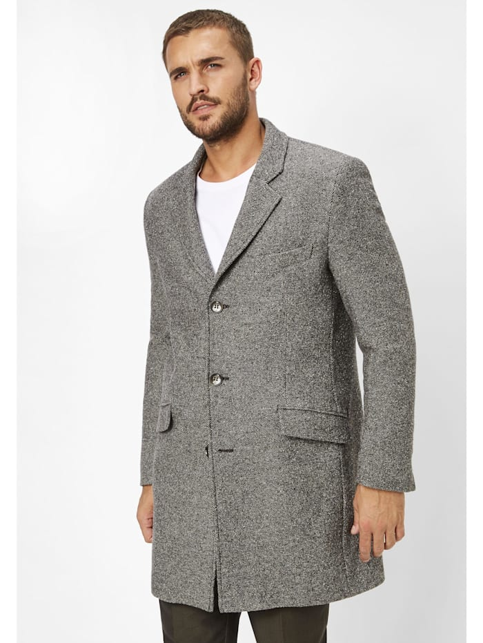 S4 slim Fit Wollmantel Watson 2, light grey melange