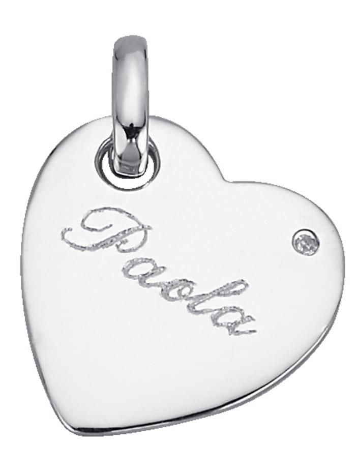Herz-Anhänger mit Diamant, Silberfarben