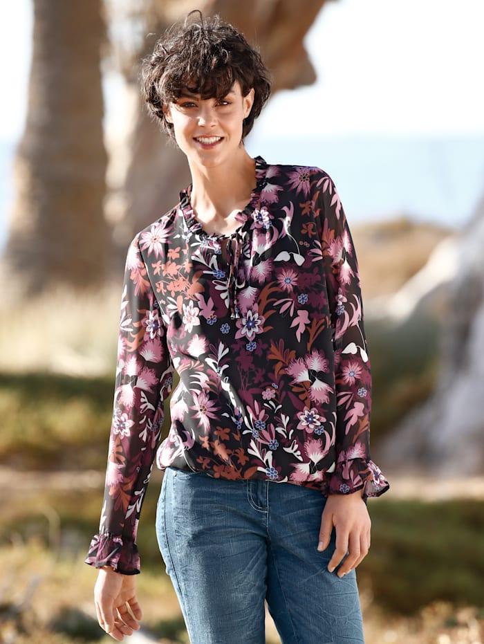 Dress In Bluse mit Rüschendetails, Fuchsia