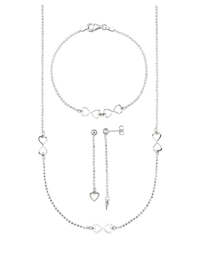 3-delige sieradenset Hart, Zilverkleur