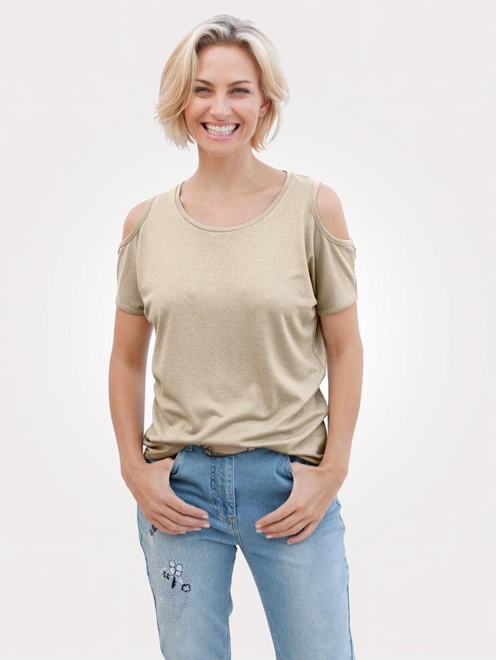 MONA Shirt mit Glanzgarn, Beige