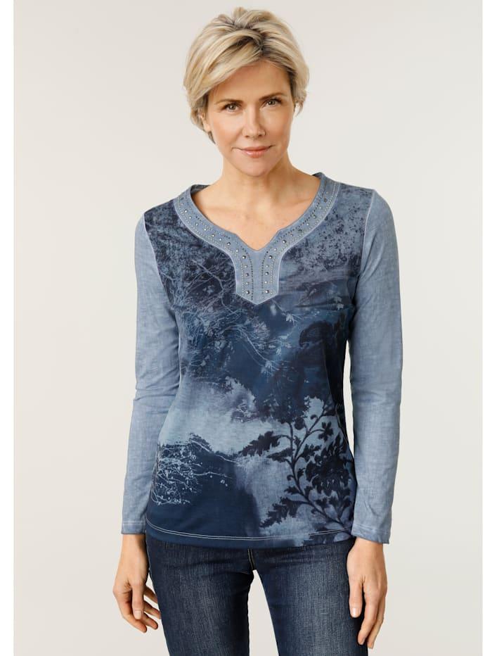 MONA Shirt met modieuze wassing, Blauw/Marine