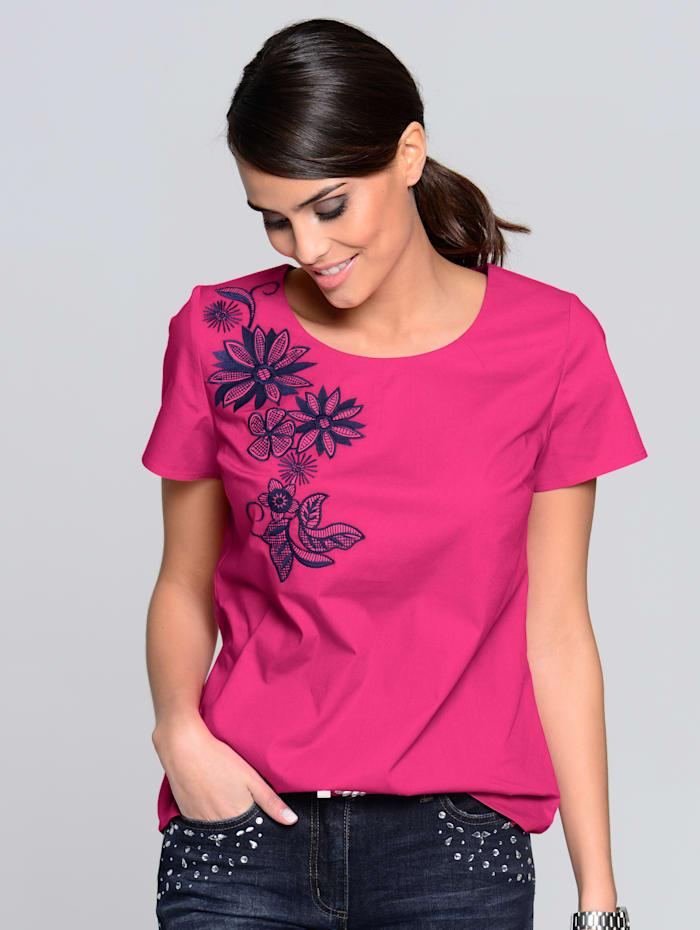 Alba Moda Blusenshirt mit Blütenstickereien, Pink/Blau