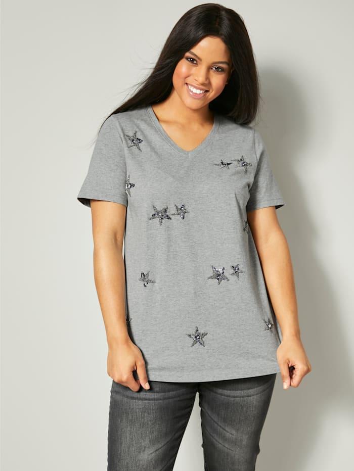 Angel of Style Shirt mit Perlenapplikationen, Hellgrau