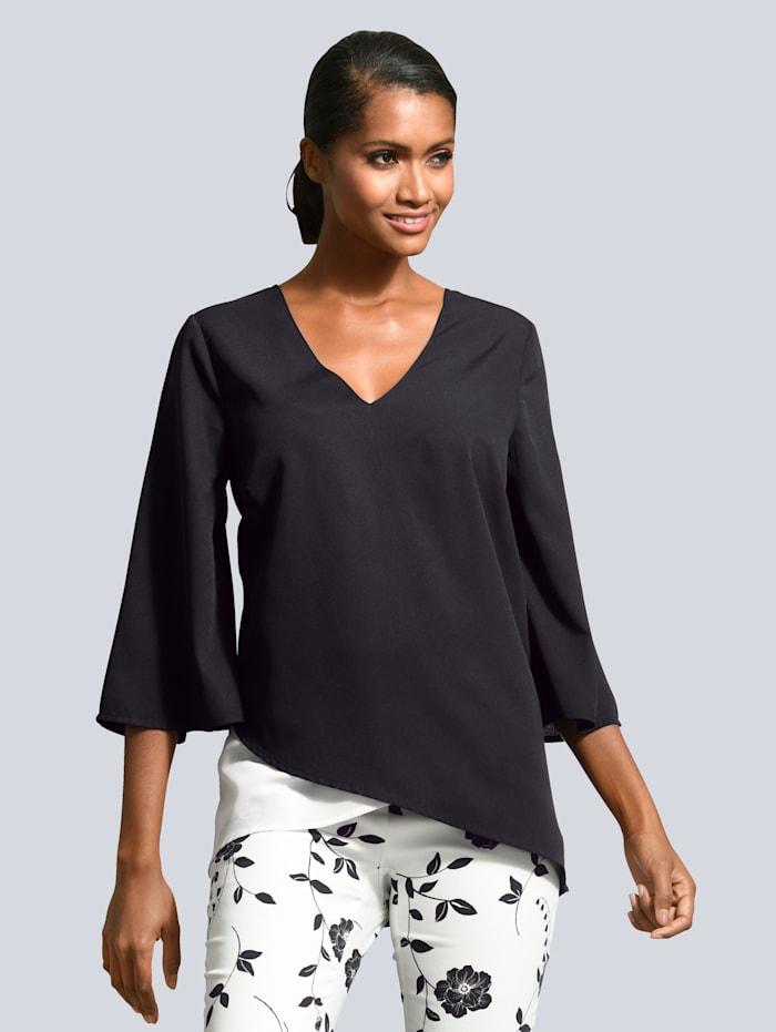 Alba Moda Bluse mit raffinierter Rückenlösung, Schwarz/Weiß