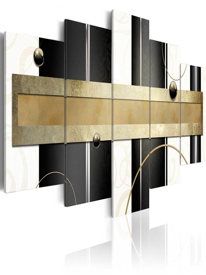 artgeist Wandbild Path of thoughts, schwarz-weiß,Gold
