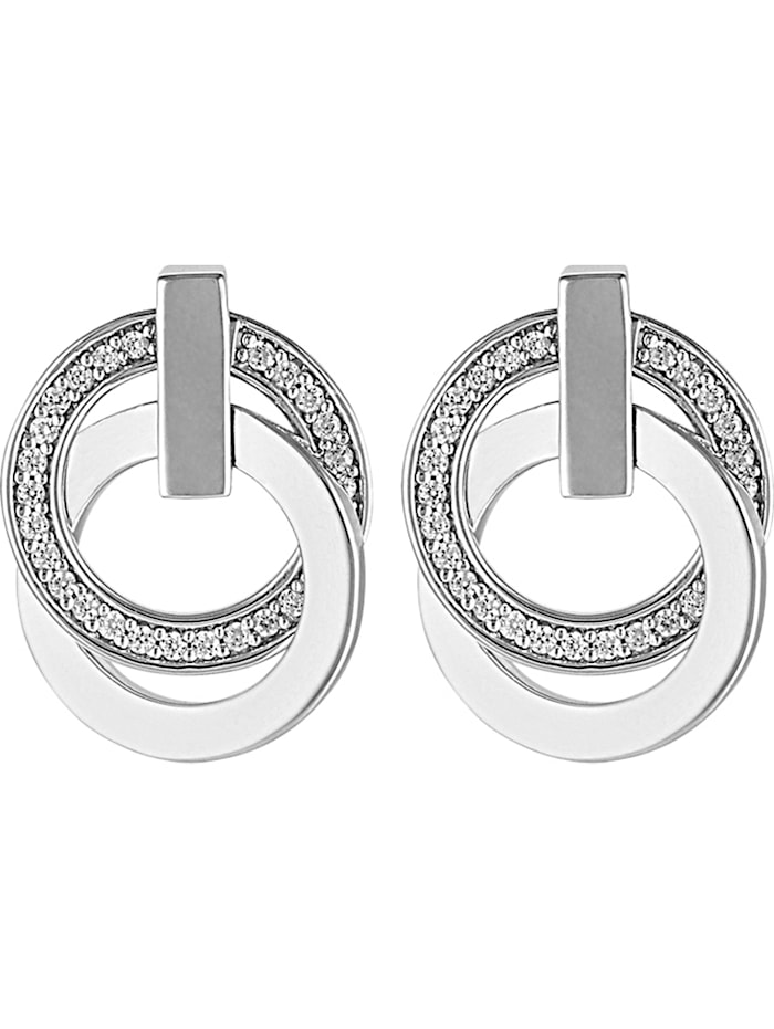 Jette JETTE Damen-Ohrstecker 925er Silber rhodiniert 58 Zirkonia, silber