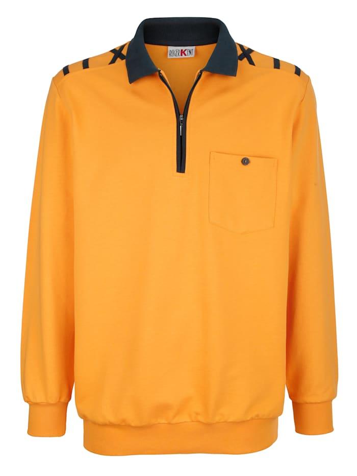 Roger Kent Sweatshirt met contrastkleurige details, Okergeel