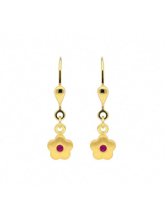 1001 Diamonds Damen Goldschmuck 333 Gold Ohrringe / Ohrhänger Blüte mit synthetischer Rubin, rot