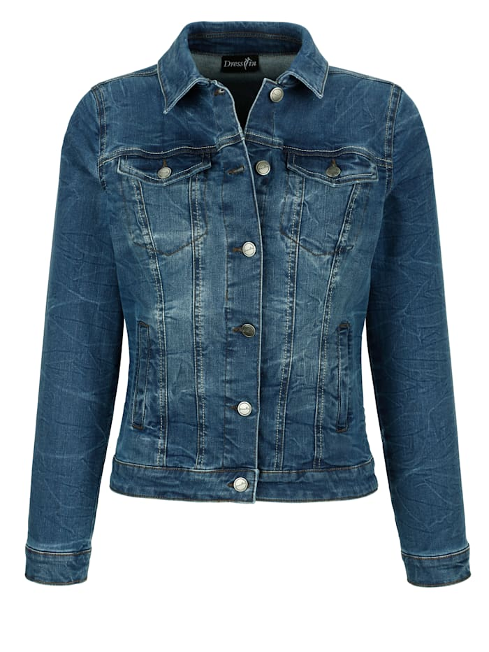 Jeansjacke mit angesagten Wascheffekten
