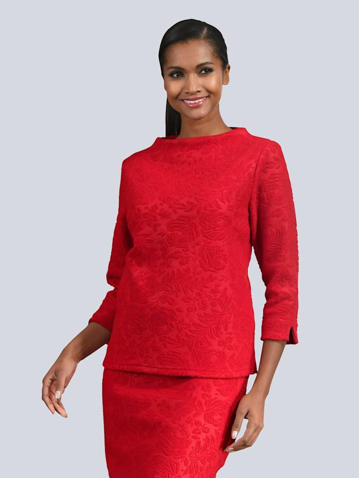 Alba Moda Shirt aus strukturiertem Material, Rot