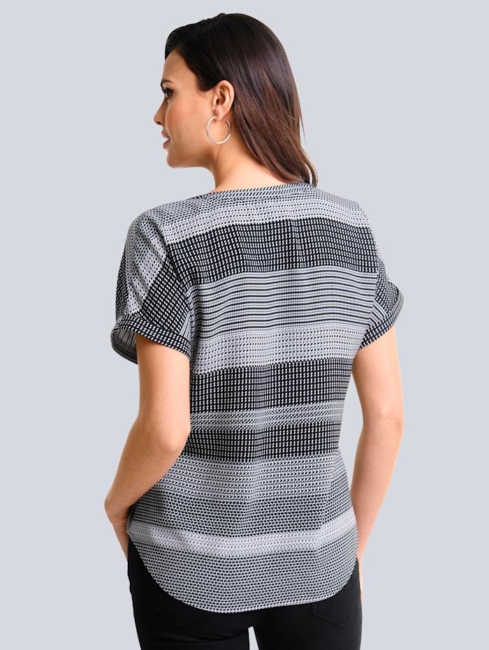 Bluse mit grafischem Print allover