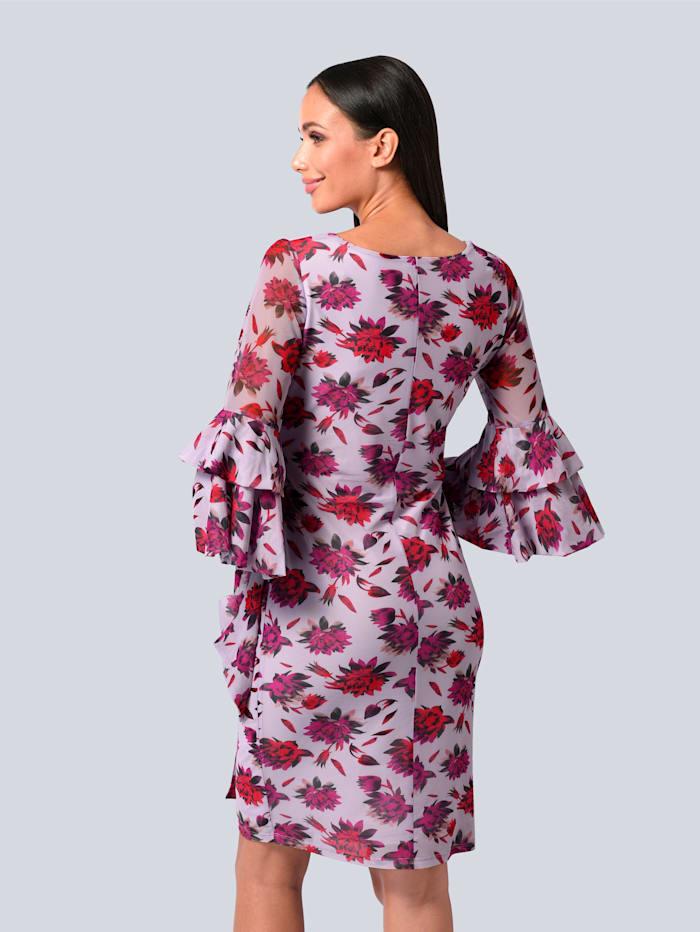 Kleid allover in bedruckter Mesh-Ware