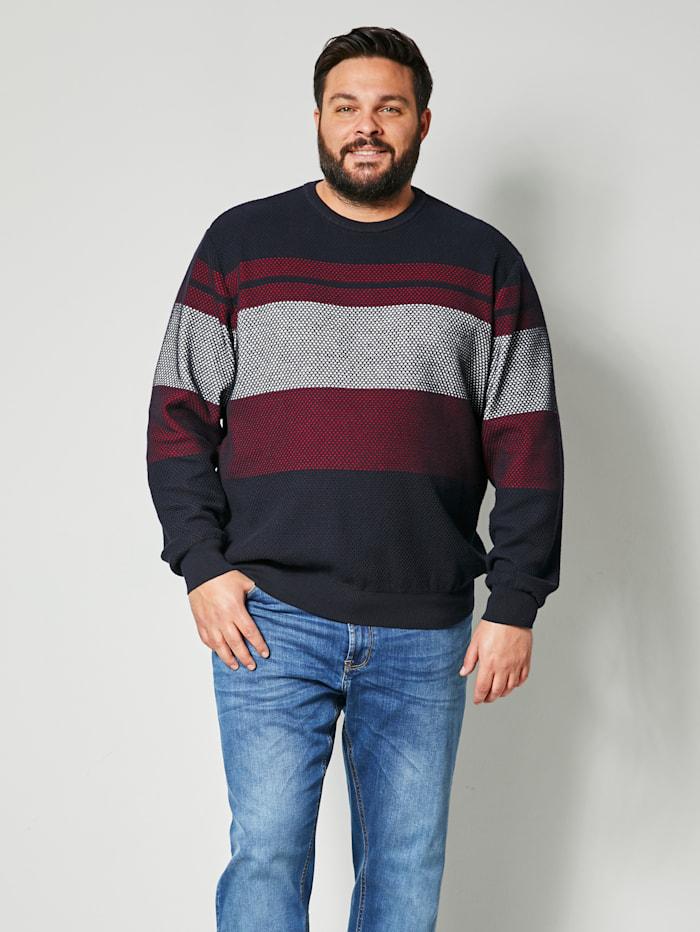 Men Plus Pullover aus reiner Baumwolle, Marineblau/Ecru/Rot