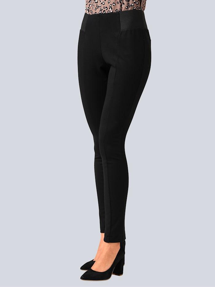 Alba Moda Broek met deels elastische band, Zwart