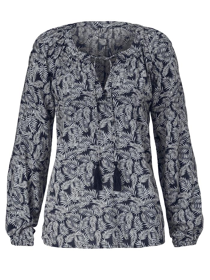SIENNA Bluse mit Palmenblatt-Print, Dunkelblau