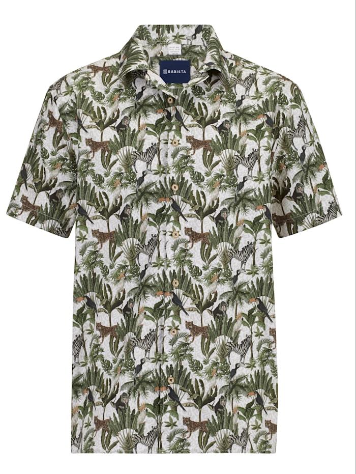 BABISTA Overhemd met reverskraag, Groen/Beige