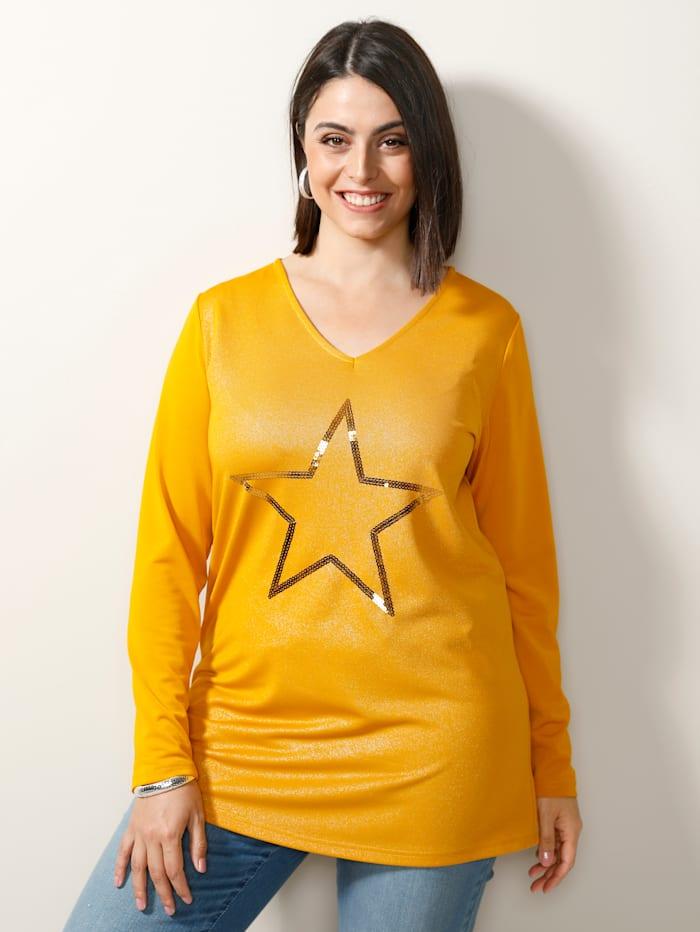 MIAMODA Shirt mit Pailletten-Stern, Gelb
