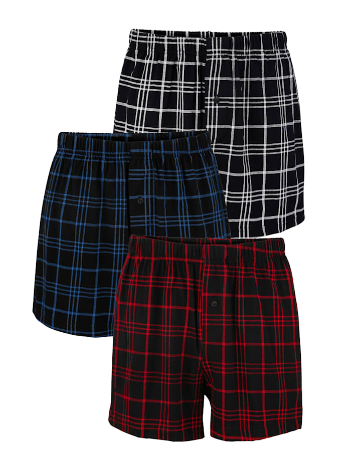 BABISTA Bokserishortsit 3/pakkaus, 1x musta/asuurinsininen, 1x musta/valkoinen, 1x musta/punainen