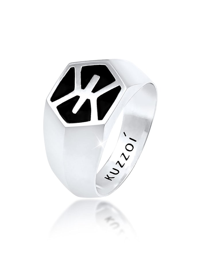 Kuzzoi Ring Herren Siegelring Emaille 925 Sterling Silber, Silber