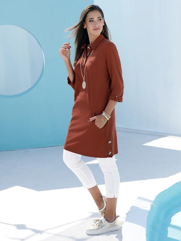 MIAMODA Longshirt mit dekorativen Knöpfen im Ausschnitt, Terracotta
