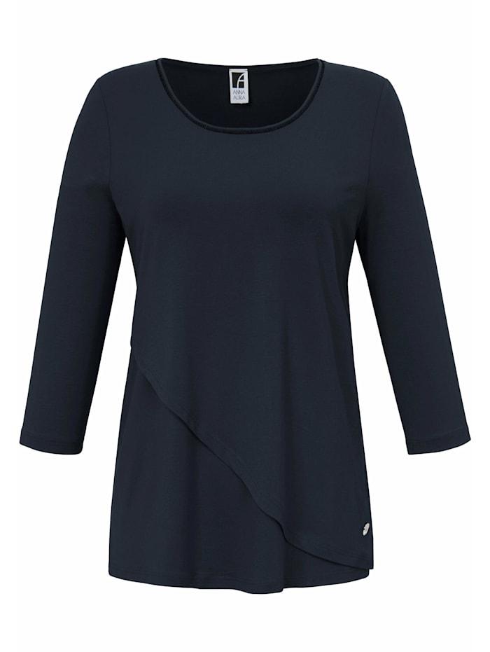 Anna Aura 3/4-Arm-Shirt Rundhals-Shirt mit 3/4-Arm Logo, marine