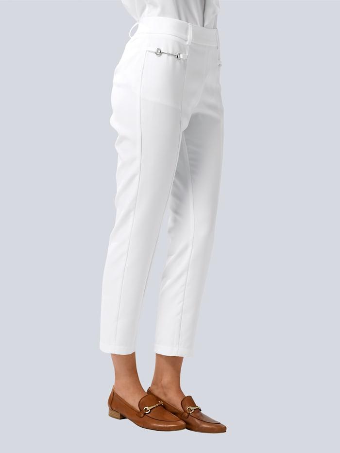 Alba Moda Hose mit dekorativen Trensen-Details seitlich am Bund, Weiß