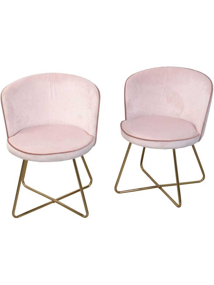 Möbel-Direkt-Online Samt-Polsterstuhl (2Stück) Nicki, rosa