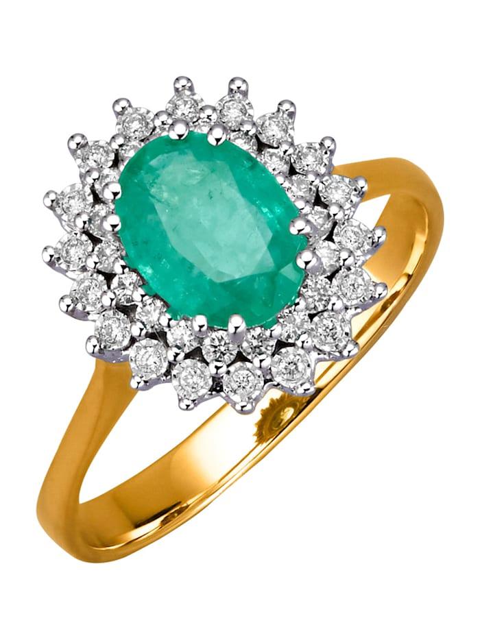 Diemer Farbstein Damenring mit Smaragd und Brillanten, Grün