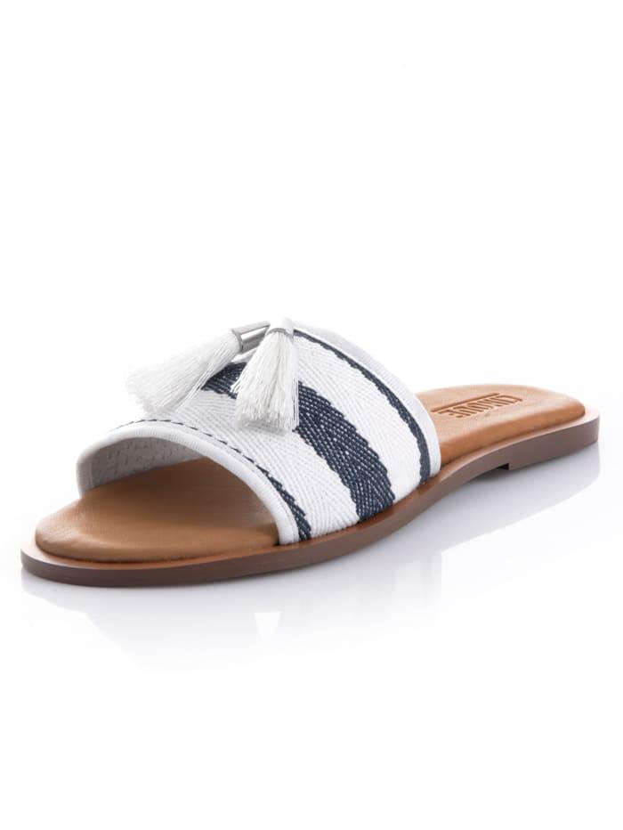 CINQUE Pantolette in Streifenoptik, Weiß/Blau