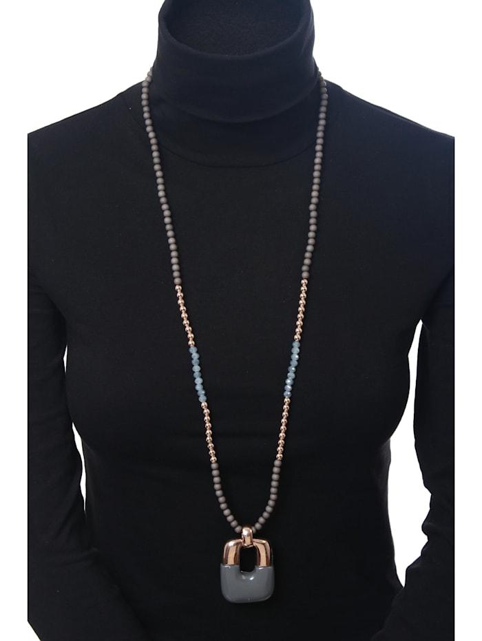 Lange Kette Silvia mit Perlen aus Glas, Metall und Kunstharz