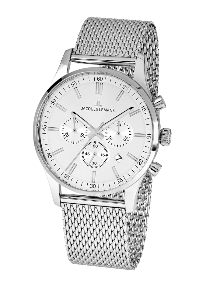 Jacques Lemans Herren-Uhr Chronograph Serie: London, Kollektion: Classic: 1- 2025G, Silberfarben