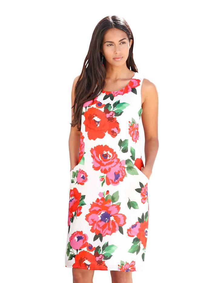 AMY VERMONT Kleid aus Leinen, Off-white/Rot
