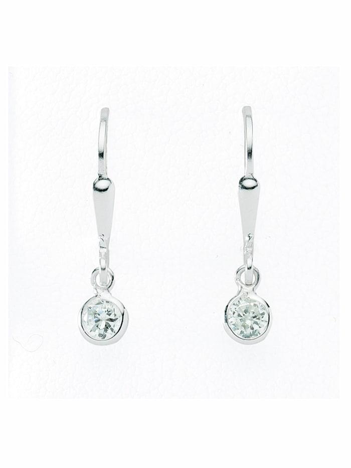 1001 Diamonds 1001 Diamonds Damen Silberschmuck 925 Silber Ohrringe / Ohrhänger mit Zirkonia Ø 4,6 mm, silber