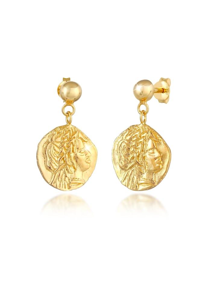Elli Ohrringe Stecker Coin Münze Antikes Design 925 Silber, Gold