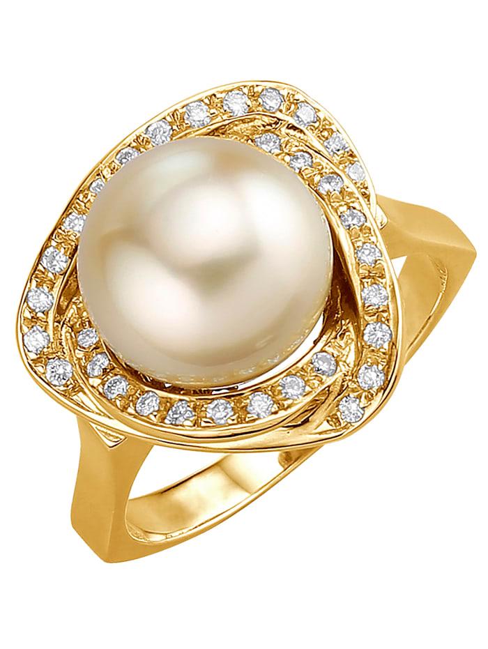 Diemer Perle Damenring mit Südsee-Zuchtperle, Gelb