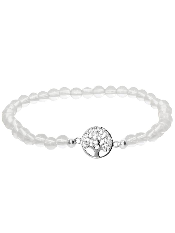 1001 Diamonds Baum des Lebens Bergkristall Armband 925 Silber 17 cm, transparent