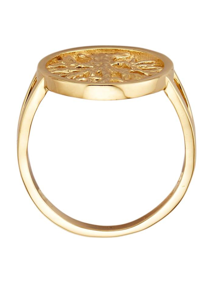 Lebensbaum-Ring in Gelbgold 585