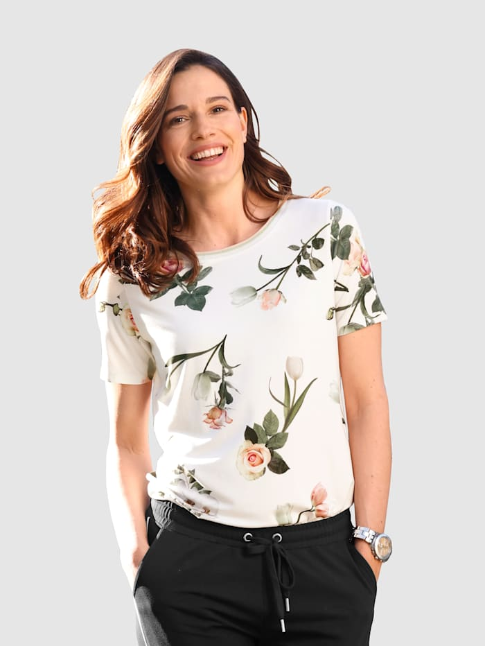 MONA Shirt mit floralem Druck, Ecru/Rosé/Dunkelgrün