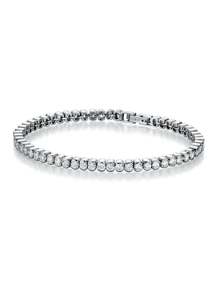 Jacques Charrel Armband Zirkonia Steine, Edelstahl, runde Optik, Silber