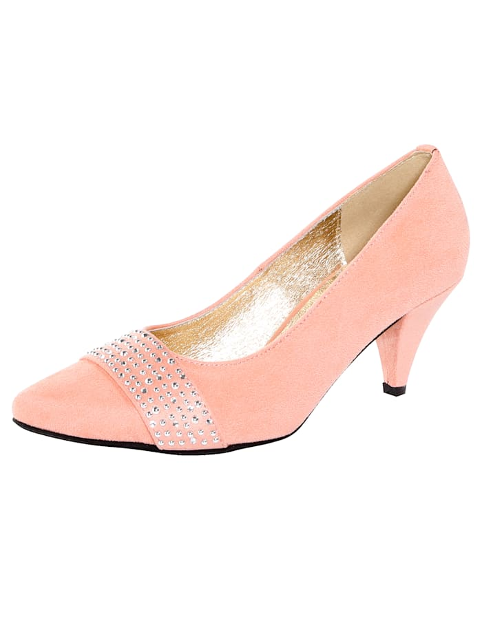 Court Shoes with glamorous rhinestones, Apricot