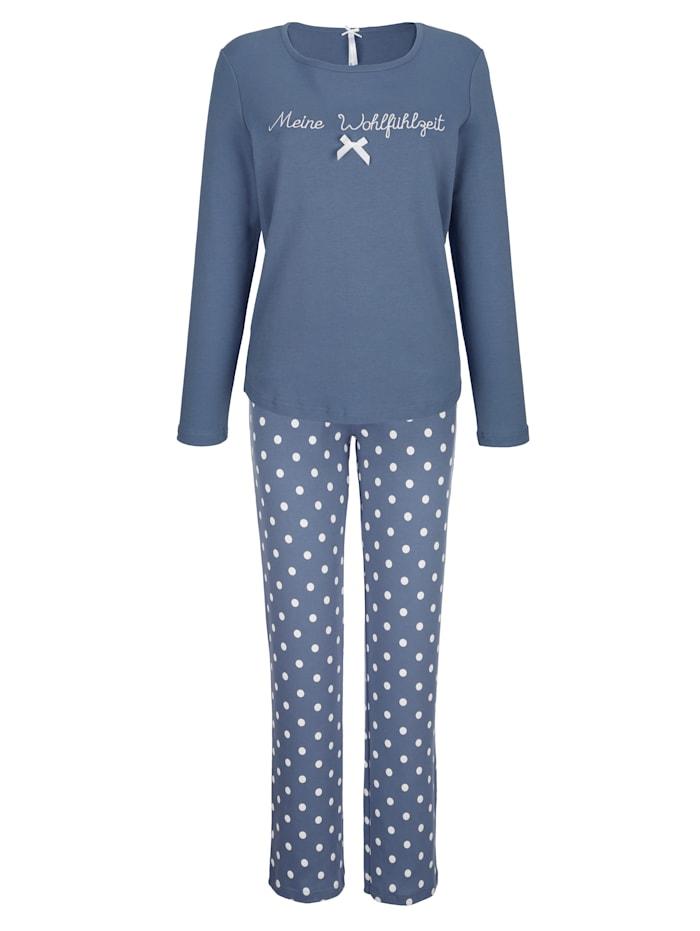 Louis & Louisa Pyjama met romantisch kant op de broeksband, Rookblauw/Wit