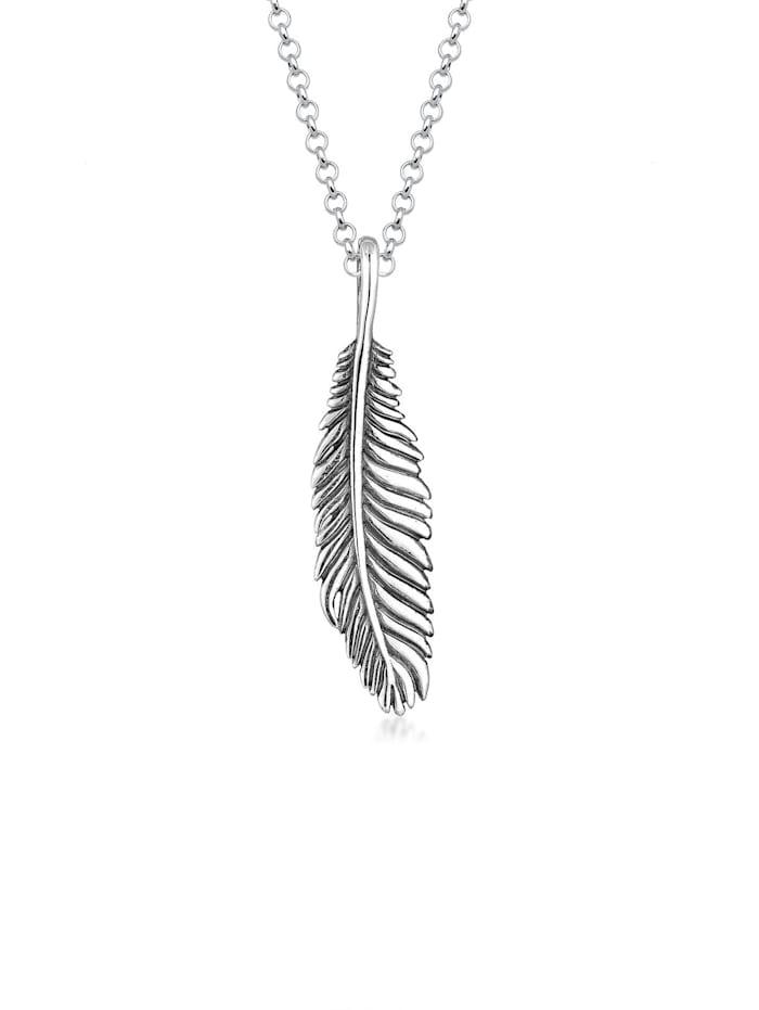 Kuzzoi Halskette Herren Basic Casual Feder Anhänger 925 Silber, Silber