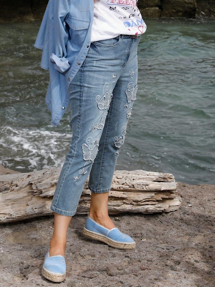 MIAMODA Jeans met vlinderborduursel en kraaltjes, Blue stone