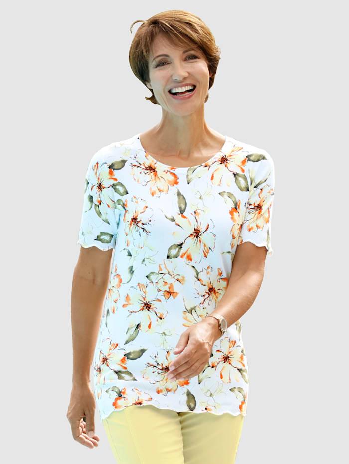Paola Pullover mit Blumendruck rundum, Weiß
