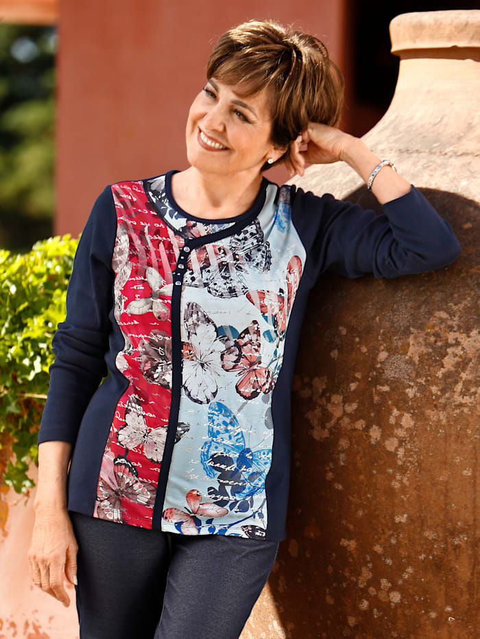 Paola Shirt in Patchwork-Optik, Marineblau/Rot