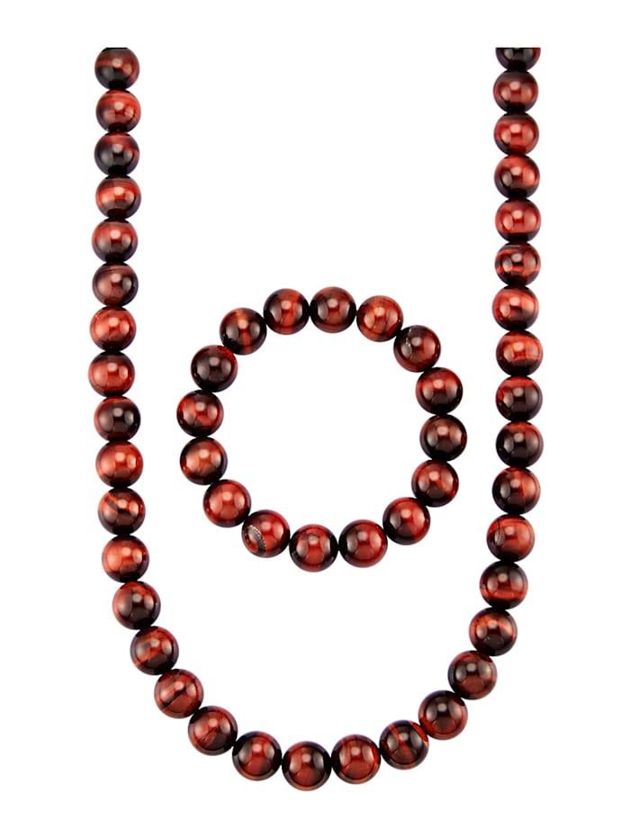 Parure de bijoux 2 pièces en argent 925, Rouge