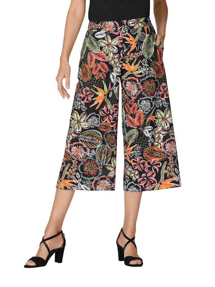 AMY VERMONT Broek met bloemenpatroon rondom, Zwart/Oranje/Groen