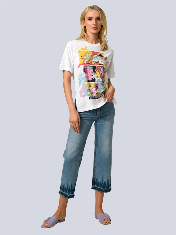 Jeans mit Saumkante in verschwaschener Batikoptik